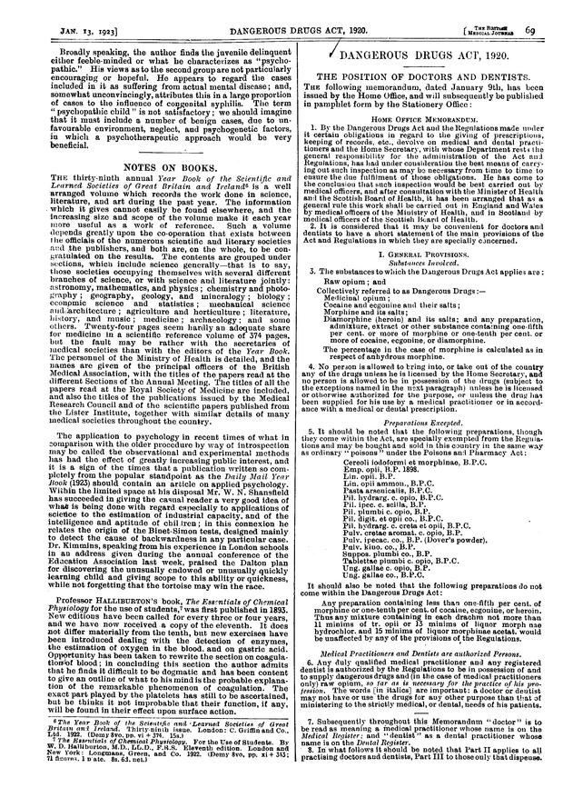 DANGEROUS DRUGS ACT 1920