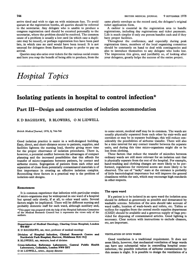 Isolating patients in hospital to control infection  Part III