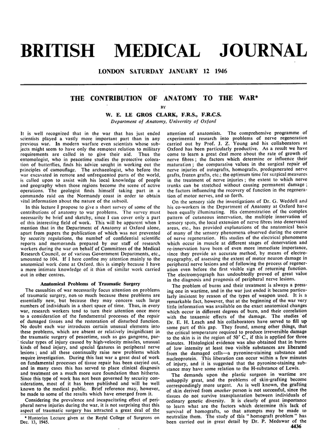 The Contribution Of Anatomy To The War The Bmj