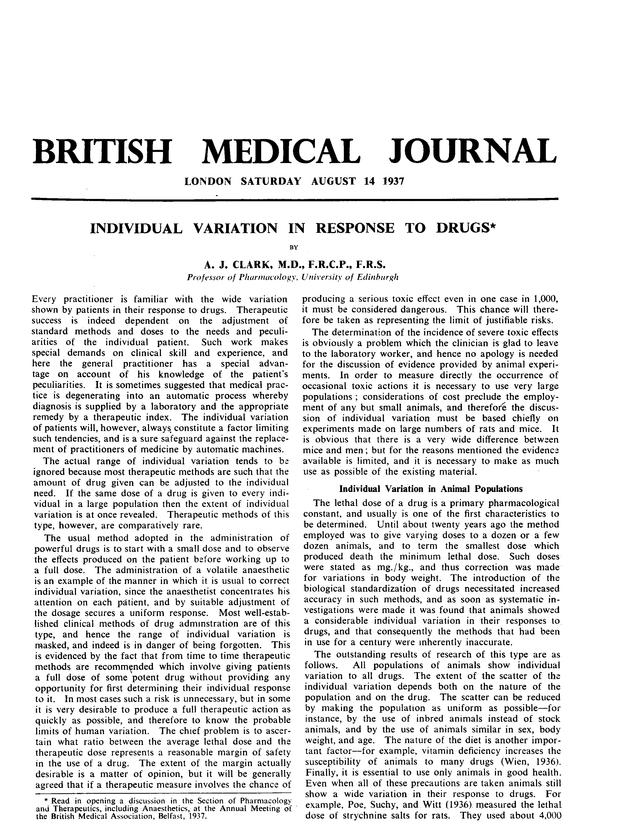 Individual Variation In Response To Drugs