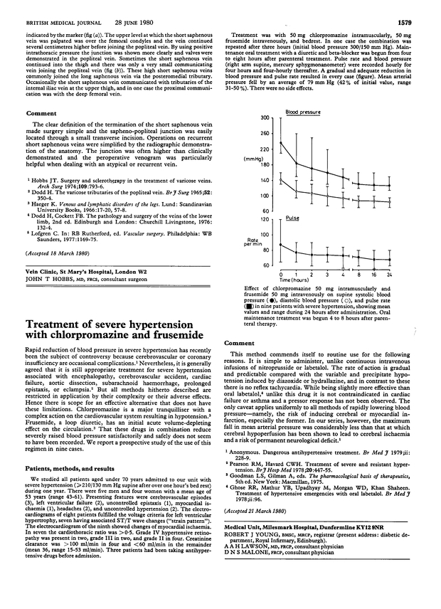 Treatment Of Severe Hypertension With Chlorpromazine And Frusemide