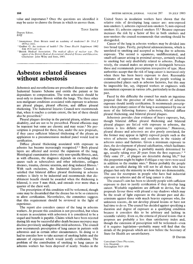 Asbestos related diseases without asbestosis  | The BMJ