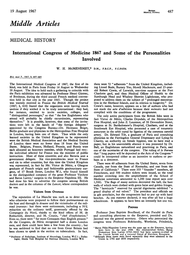 Medical History: International Congress of Medicine 1867 and