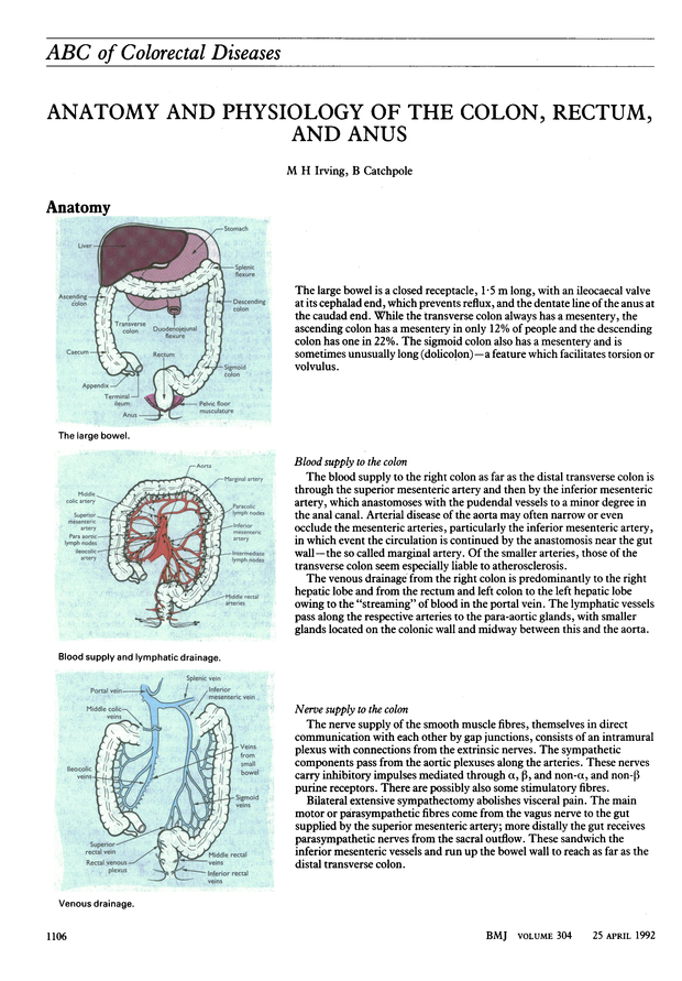 Abc Of Colorectal Diseases Anatomy And Physiology Of The Colon