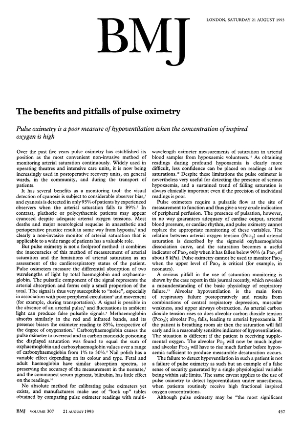 the benefits and pitfalls of pulse oximetry the bmj