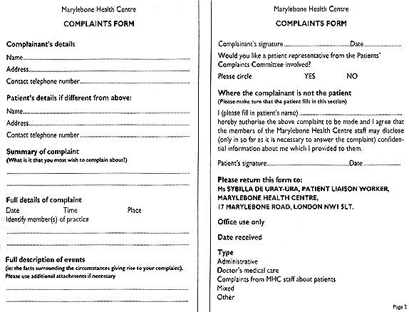 FIG 1. FIG 1. Complaints Form ...