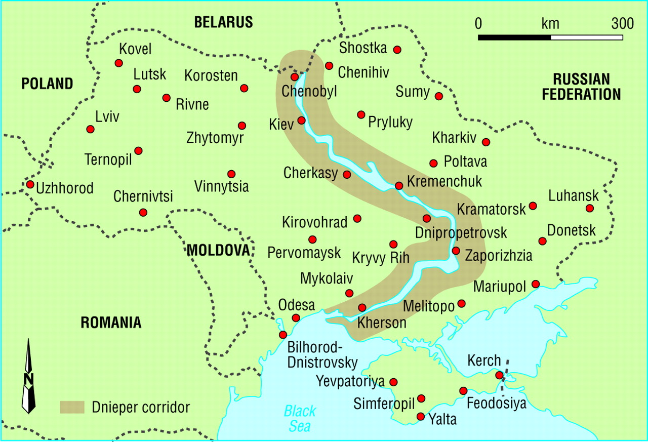 Dnieper river europe map