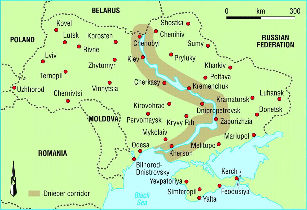Dnieper river europe map