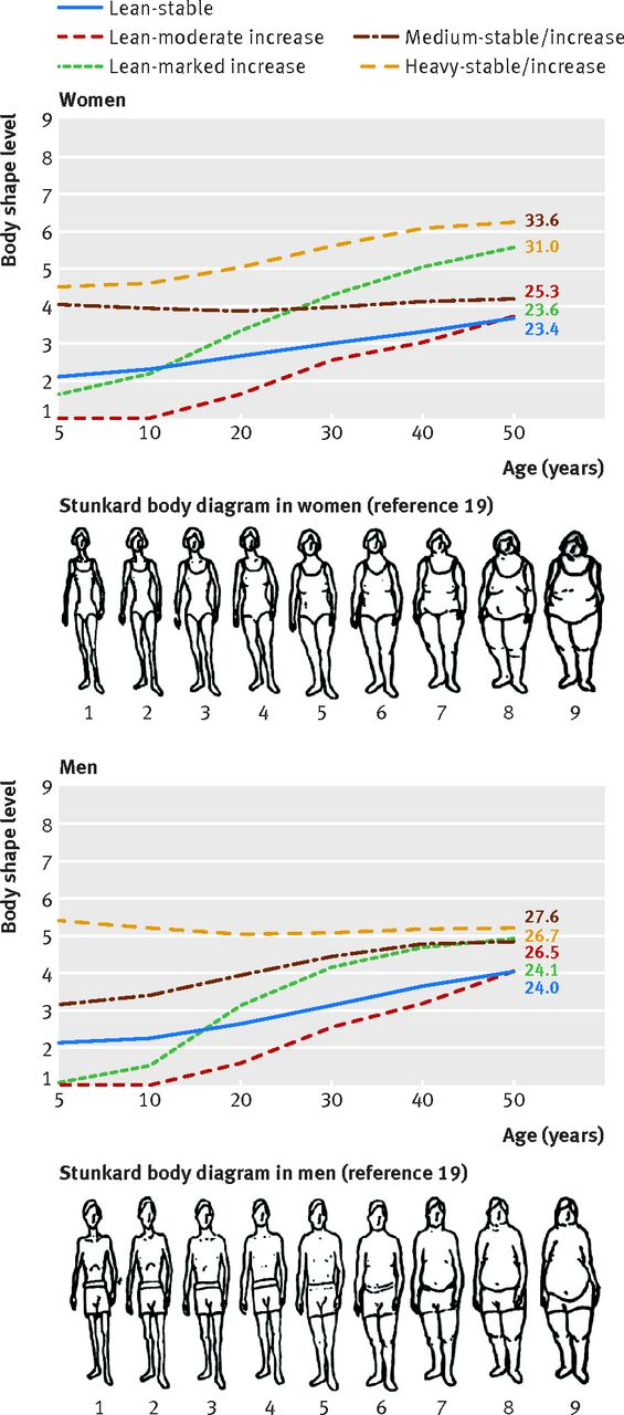 Trajectory of body shape in early and middle life and all