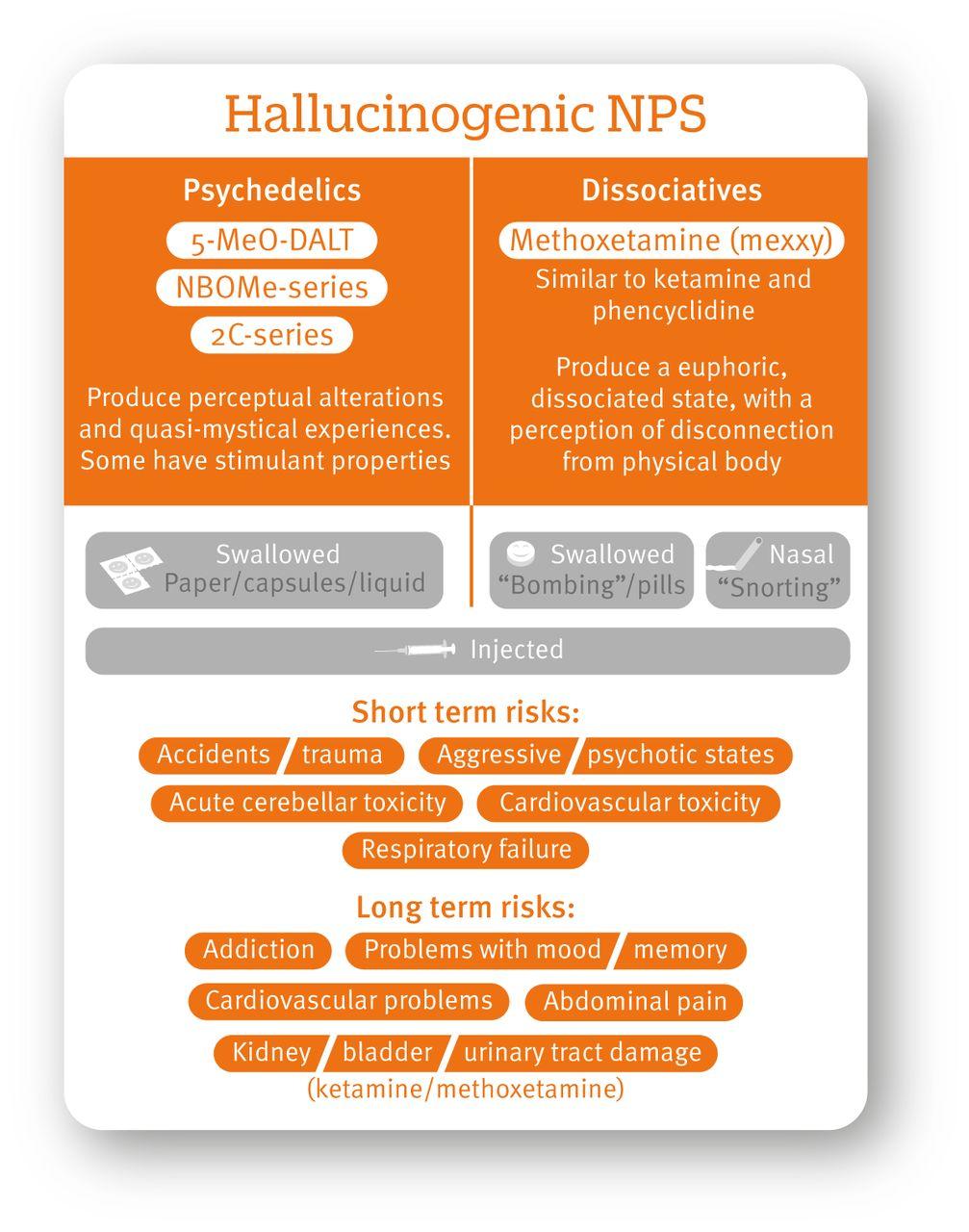Novel psychoactive substances: types, mechanisms of action