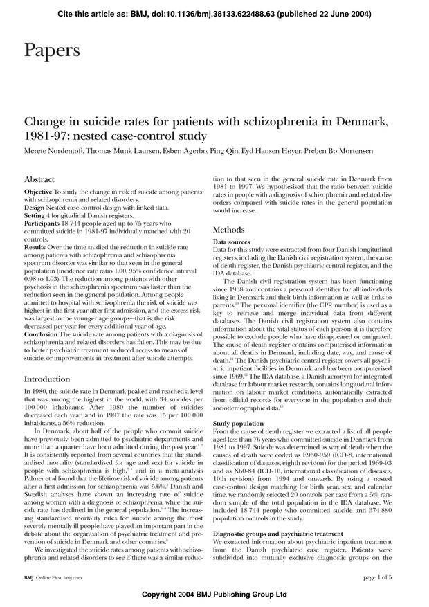 Change in suicide rates for patients with schizophrenia in