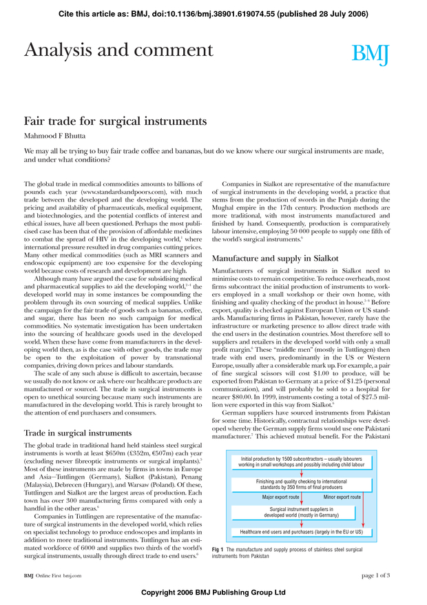 Fair trade for surgical instruments | The BMJ