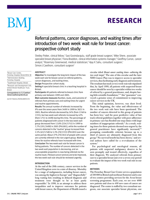 Referral patterns, cancer diagnoses, and waiting times after