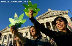 Protesters for the legalisation of cannabis in Uruguay