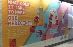 One of the advertisements, displayed at Westminster underground station in London