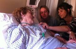 Saying goodbye. Jane and her daughter, Rosa, at her mother, Patricia's bedside