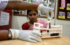 Blood being tested for HIV in India