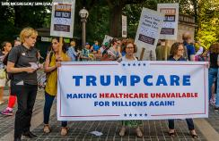 A protest in New York in advance of a possible US senate TrumpCare debate and vote