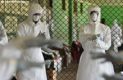 Ebola healthcare workers are trained in Freetown, Sierra Leon, during the 2014 outbreak