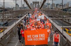 A gun violence prevention organisation leads a march in New York City