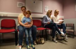 Mother and child in waiting room