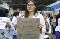 Doctors in Venezuela protesting a lack of supplies in March 2020