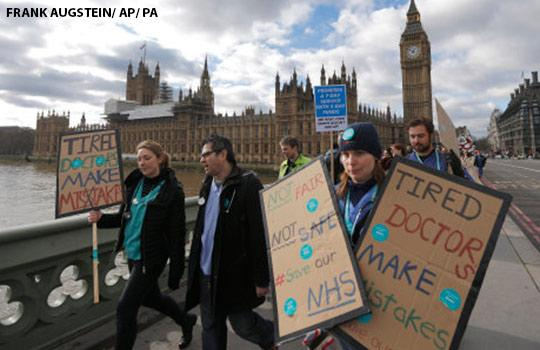 Junior doctors as they protest near the Houses of Parliament