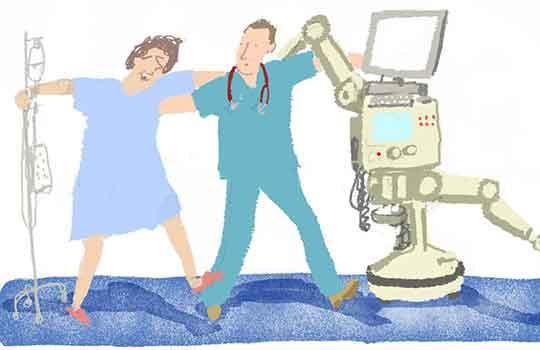 cartoon of doctors dancing