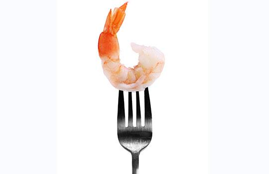 prawn on a fork