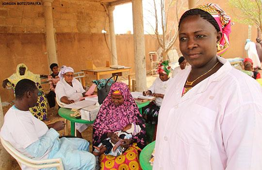 A doctor stands in the health centre that she leads in Mopti, Mali