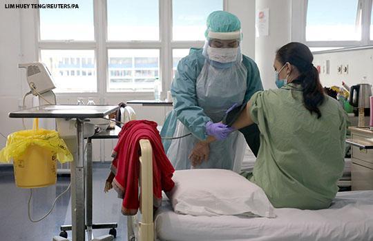A nurse wearing a protective suit at Kuala Lumpur Hospital, in Kuala Lumpur, Malaysia