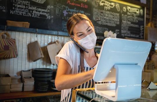 A waitress in a restaurant